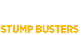 White logo image for Stump Busters