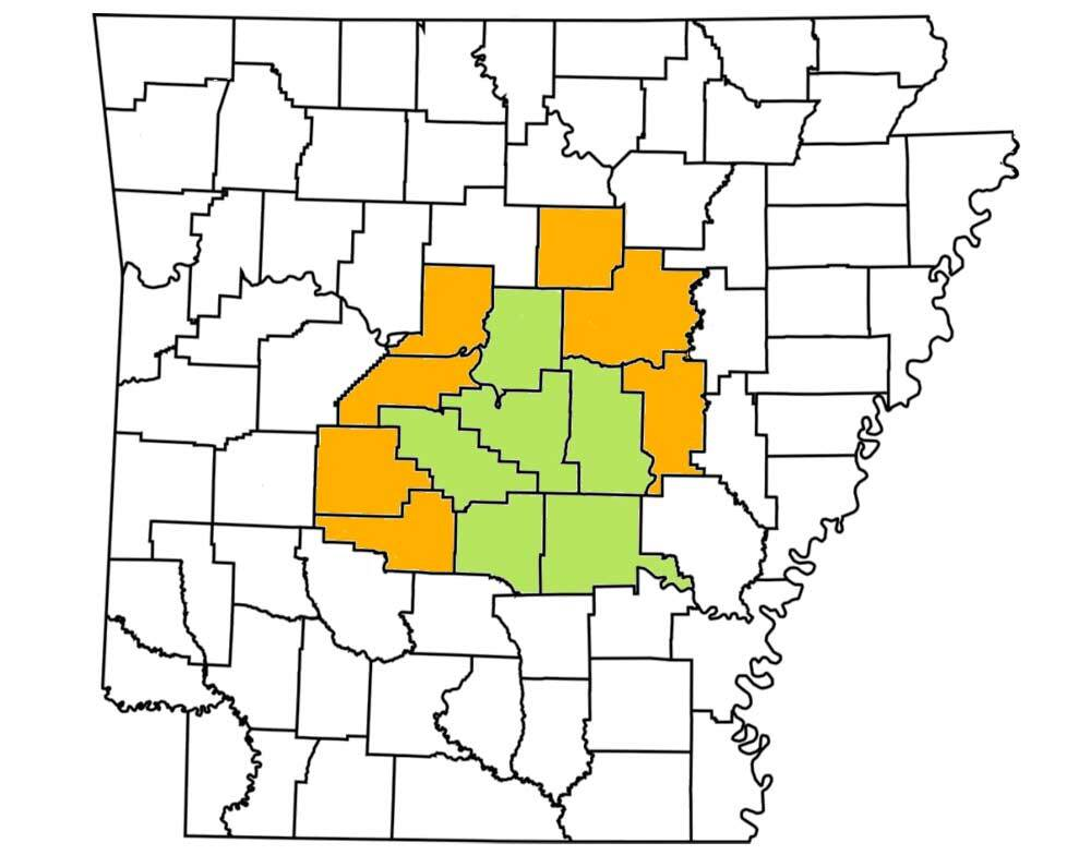 Map showing central Arkansas as the service area